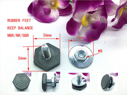 Rubber feet for washing machine with screw and bolt